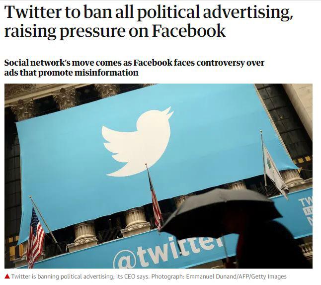 توییتر تبلیغات سیاسی را ممنوع کرد