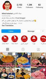 ۲) پیج های آشپزی و تست غذا: Milad_taster